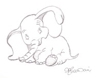 Baby Room Drawings Framed Prints - Happy Dumbo Framed Print by Melissa Vijay Bharwani