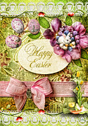 Ribbon Digital Art Prints - Happy Easter 2 Print by Mo T