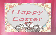 Happy Easter Basket Print by Debra     Vatalaro