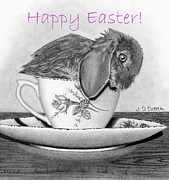 Ceramic Drawings - Happy Easter- Bunny In A Teacup by Sarah Batalka