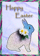 Wildlife Celebration Mixed Media - Happy Easter Bunny Rabbit by Jeanette K