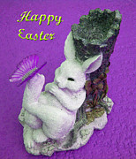 Yellow Framed Prints - Happy Easter Card 4 Framed Print by Aimee L Maher