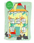 Door Mixed Media Prints - Happy Easter Card Print by Linda Woods