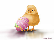 Easter Digital Art Posters - Happy Easter Poster by Veronica Minozzi