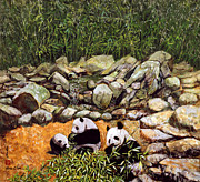 Panda Bear Paintings - Happy Family Pandas by Komi Chen
