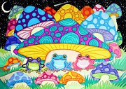 Magic Mushrooms Posters - Happy Frogs in the Starlight  Poster by Nick Gustafson