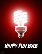 Light Bulb Digital Art Posters - Happy Fun Bulb Poster by Cristophers Dream Artistry