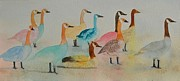 Geese Paintings - Happy Geese by Betty Mulligan