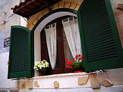 Window Art On Canvas Posters - Happy Green Shutters Poster by Nino Via