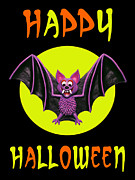 Humorous Greeting Cards Mixed Media Prints - Happy Halloween Bat Print by Amy Vangsgard