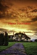 Happy Halloween Fiery Castle Print by Eti Reid