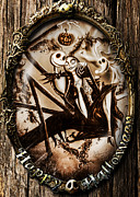 Halloween Digital Art Metal Prints - Happy Halloween III sepia version Metal Print by Alessandro Della Pietra