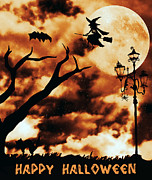 Flying Spider Posters - Happy Halloween Poster by Leapdaybride