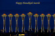 Hanukah Prints - Happy Hanakkah Seattle Print by Roger Reeves  and Terrie Heslop