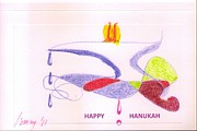 Hanukah Prints - HAPPY HANUKAH Card Print by Rod Ismay