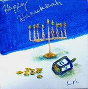 Hanuka Posters - Happy Hanukkah Poster by Laurie Morgan