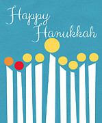 Card Mixed Media Prints - Happy Hanukkah Menorah Card Print by Linda Woods
