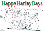 Harley Davidson Drawings - Happy Harley Days by Andrew Wilson
