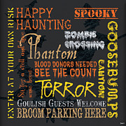 Text Words Posters - Happy Haunting Poster by Debbie DeWitt