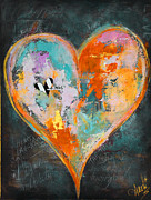 Valentines Day Framed Prints - Happy Heart Abstracted Framed Print by Anahi DeCanio