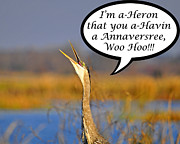 Great Digital Art - Happy Heron Anniversary Card by Al Powell Photography USA