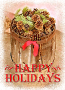 Pine Cones Posters - Happy Holiday Barrel Poster by Cristophers Dream Artistry