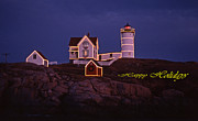 Nubble Lighthouse Metal Prints - Happy Holidays At Nubble Metal Print by Skip Willits