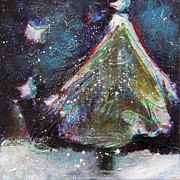 Happy Holidays Blue And Red Wishing Stars Print by Johane Amirault