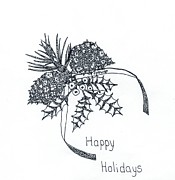 Pine Cones Drawings - Happy Holidays by Carolann Van de Ligt