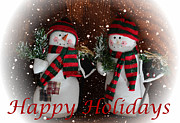 Mitts Posters - Happy Holidays - Christmas - Snowman Collection - Greeting Cards Poster by Barbara Griffin