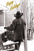 Snow Falling Photos - Happy Holidays Cowboy by Olivier Le Queinec