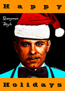 Christmas Cards Digital Art Posters - Happy Holidays Gangman Style - John Dillinger 13225 Poster by Wingsdomain Art and Photography