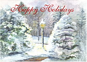 Lamp Post Drawings Prints - Happy Holidays Greeeting Card Print by Carol Wisniewski
