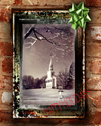 Snow Scenes Metal Prints - Happy Holidays Greeting Card Metal Print by Thomas Schoeller
