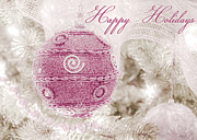 Pink Ribbon Prints - Happy Holidays in Pink and White Print by Julie Palencia