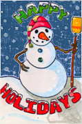 Frosty Mixed Media Posters - Happy Holidays Poster by Jame Hayes