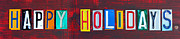Happy Holidays License Plate Art Letter Sign Print by Design Turnpike