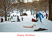 Manhattan Snow Posters - Happy Holidays Poster by Madeline Ellis