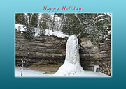 New Years Prints - Happy Holidays Munising Falls Print by Michael Peychich