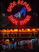 Shoe Repair Posters - Happy Holidays - Neon of New York - Shoe Repair Poster by Miriam Danar