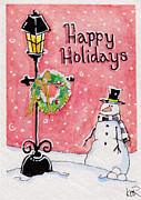Lamp Post Drawings Prints - Happy Holidays Print by Nicole Rogalski