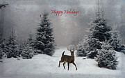 Winter Prints Prints - Happy Holidays - On a Snowy Evening  Print by Lianne Schneider