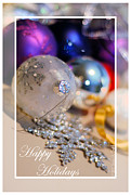 Susan M. Smith Prints - Happy Holidays Ornaments Print by Susan Smith