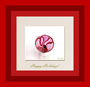 Holiday Glass Art - Happy Holidays. Red Poppy by Oksana Semenchenko