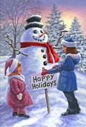 Snowman Posters - Happy Holidays Poster by Richard De Wolfe