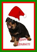 Christmas Dogs Digital Art Prints - Happy Holidays Rottweiler Christmas Greetings  Print by Tracey Harrington-Simpson