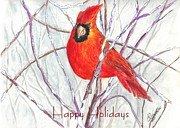 Snowy Trees Drawings - Happy Holidays Snow Cardinal by Carol Wisniewski