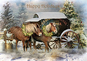 Christmas Card Mixed Media Metal Prints - Happy Holidays Metal Print by Trudi Simmonds