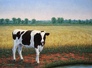 Hay Framed Prints - Happy Holstein Framed Print by James W Johnson