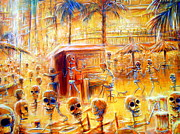 Cantina Paintings - Happy Hour closer view by Heather Calderon